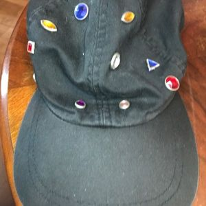 1990s vintage baseball hat black with rhinestone💋